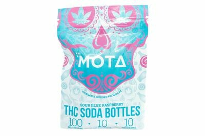 (100mg THC/ 20mg CBD) (Indica) Blue Raspberry Soda Bottles By Mota