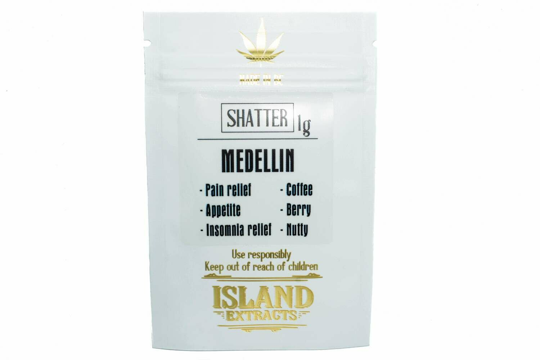Medellin (Dutch Kush & Nuken) (1g) Shatter by Island Extracts
