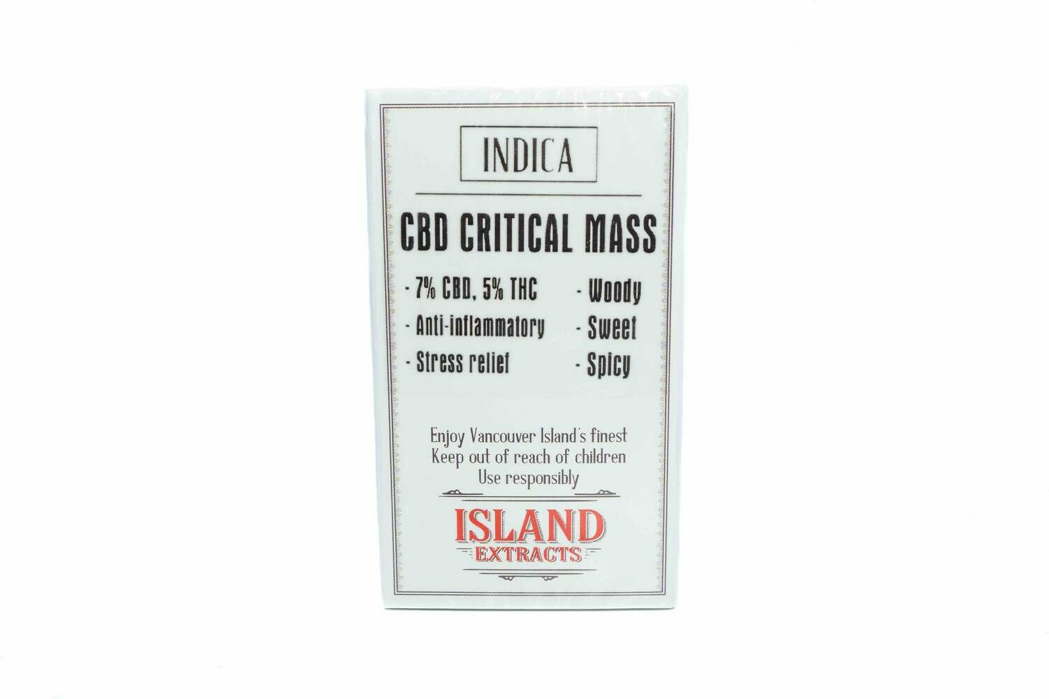 (CBD) Critical Mass (Indica) Premium Preroll (5/Pack) By Island Extracts