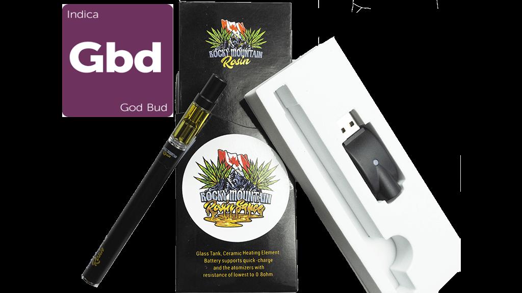 God Bud (Indica) (Full Spectrum) Rosin (0.5ml/1ml) Vape Kit by Rocky Mountain