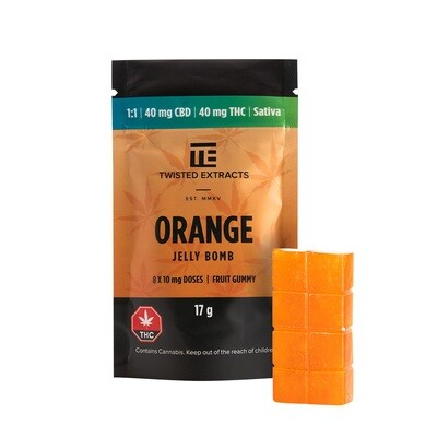 40mg 1:1 THC/CBD Orange Jelly Bomb by Twisted Extracts