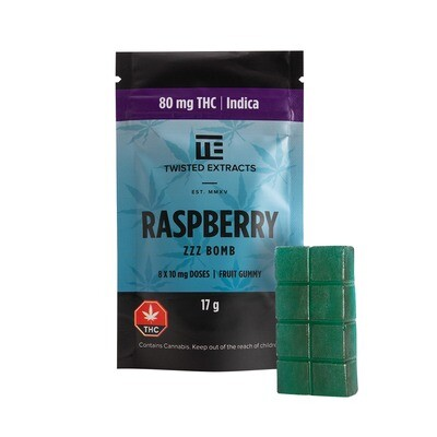 80mg THC Raspberry (Indica) ZZZ Bomb by Twisted Extracts