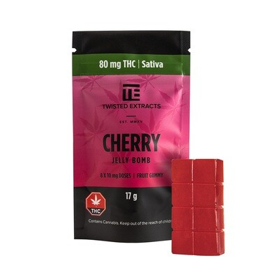 80mg THC Cherry Jelly Bomb by Twisted Extracts