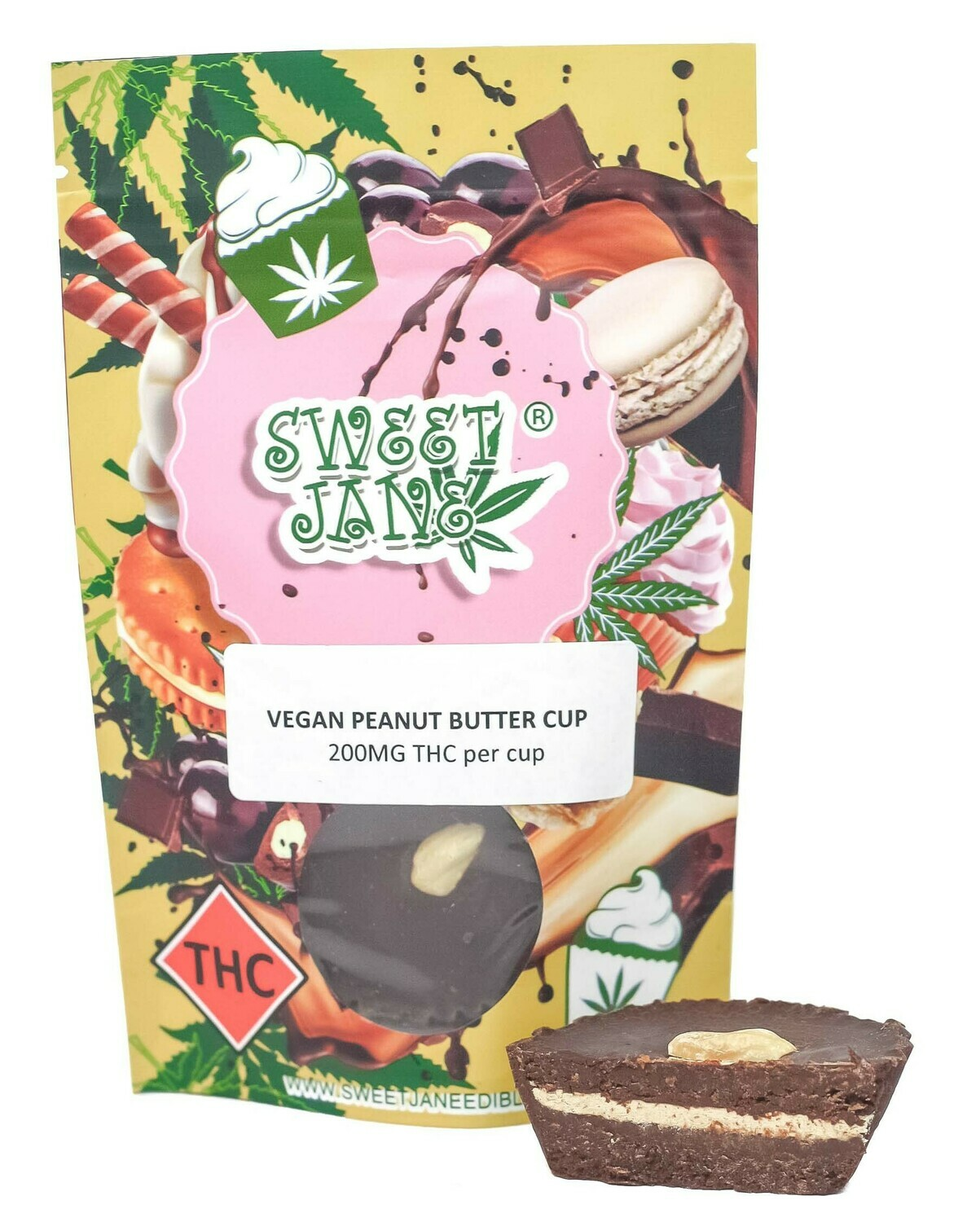 (200mg THC or 200mg CBD) Vegan Peanut Butter Cup By Sweet Jane