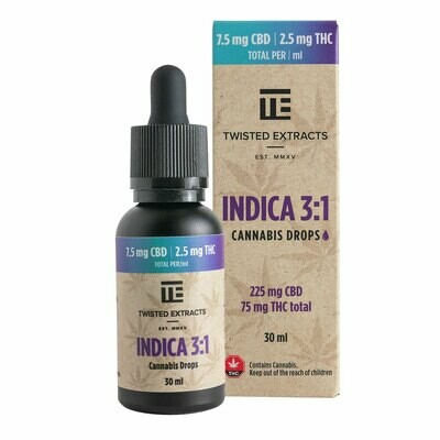 (225mg CBD + 75mg THC) Indica 3:1 Oil Drops By Twisted Extracts