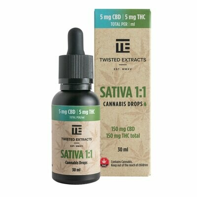 (150mg THC + 150mg CBD) Sativa 1:1 Oil Drops By Twisted Extracts