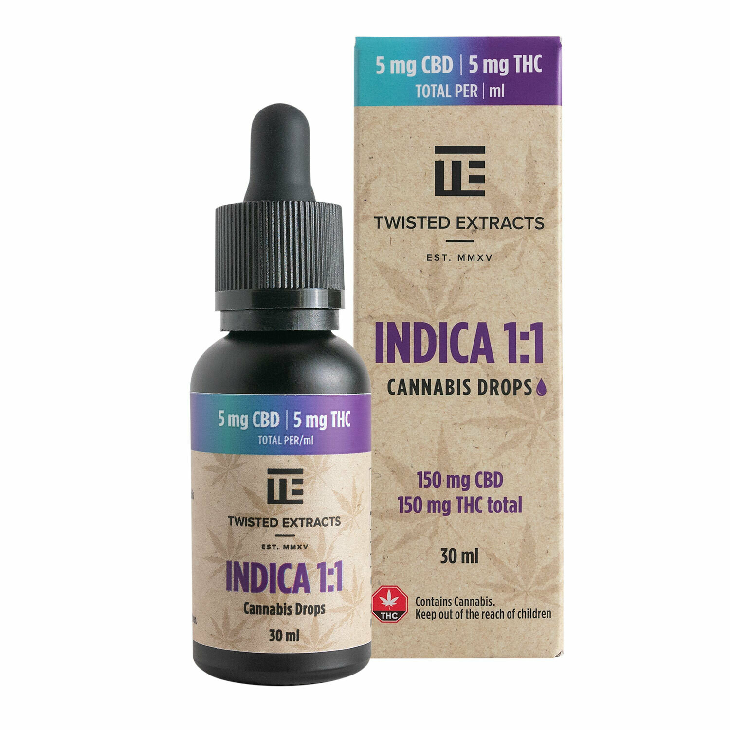 (150mg THC + 150mg CBD) Indica 1:1 Oil Drops By Twisted Extracts