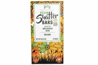 Vegan Dark Chocolate Sativa Shatter Bar By Euphoria Extractions (Sugar Free) (500mg) (Current Strain: Haze Berry)