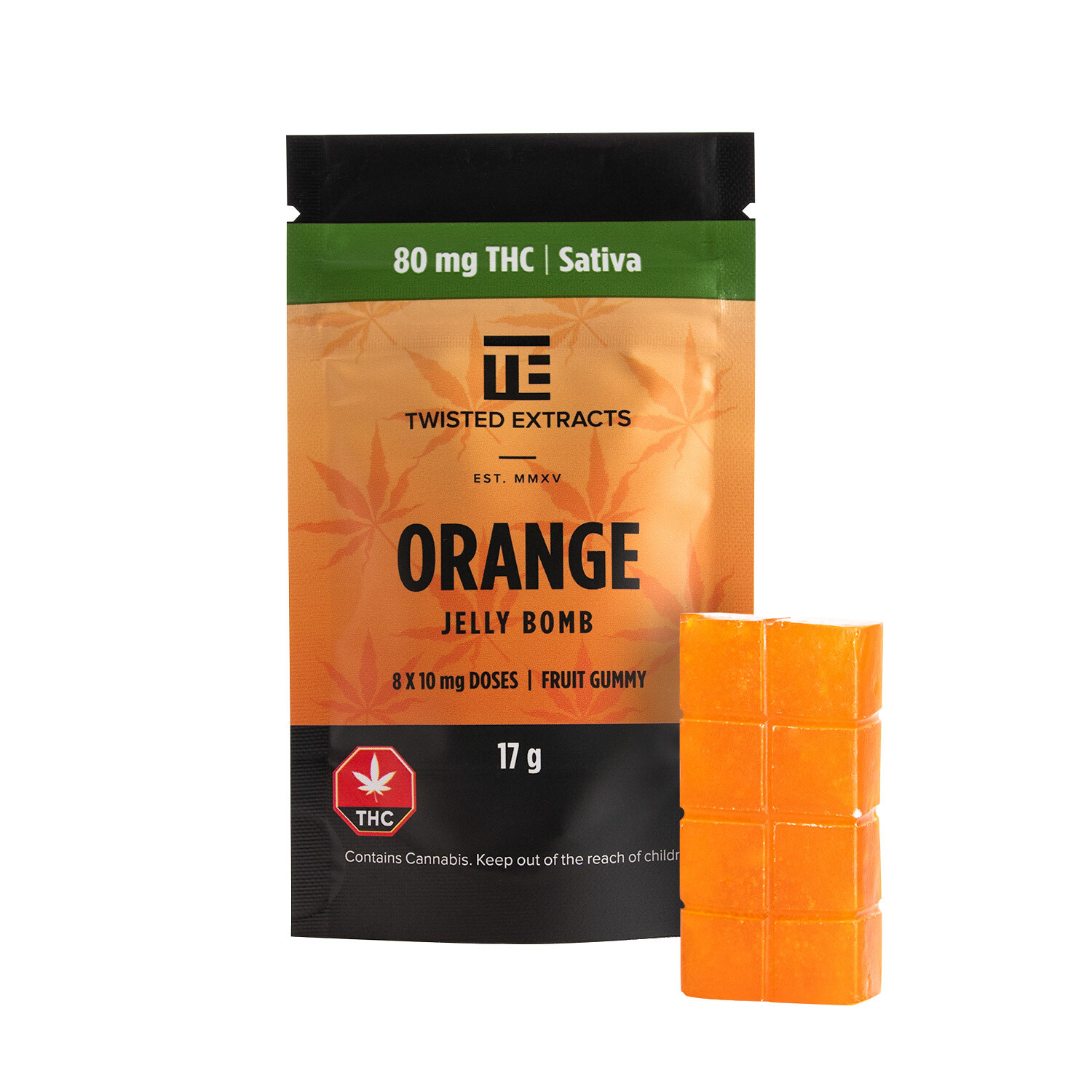 80mg THC Orange Jelly Bomb by Twisted Extracts