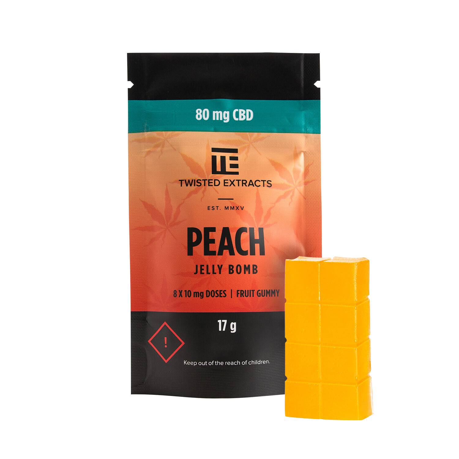 80mg CBD Peach Jelly Bomb by Twisted Extracts