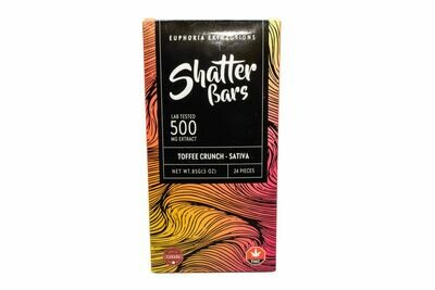 Toffee Crunch Sativa Shatter Bar By Euphoria Extractions (500mg) (Current Strain: Durban Poison)