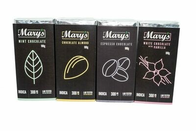 (300mg THC) (Indica) Chocolate Bars by Mary's Medibles