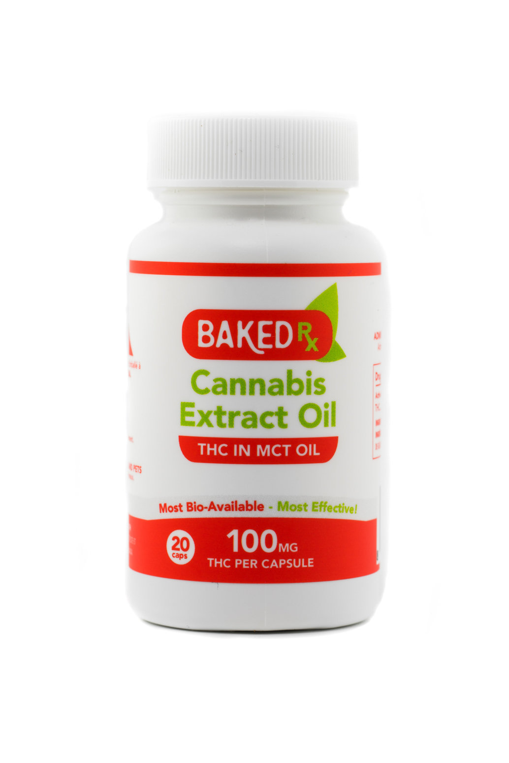 100mg THC Capsules (20 pack) by Baked Edibles 00049