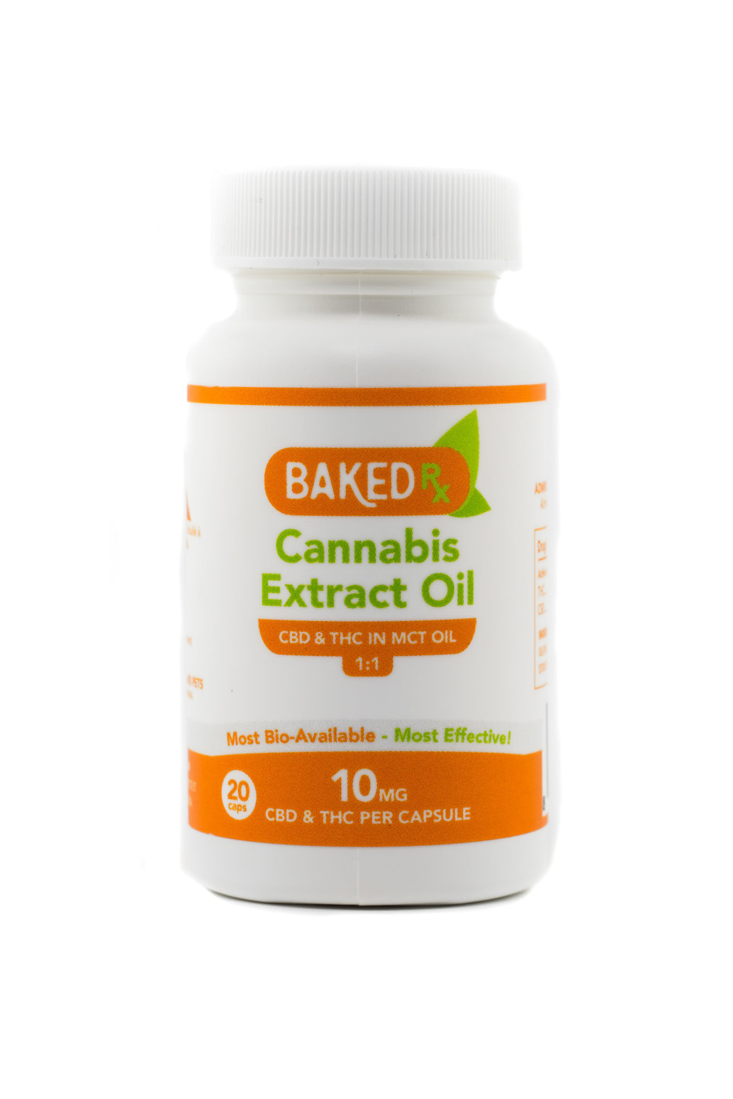 10mg 1:1 THC/CBD Capsules (20 pack) by Baked Edibles 00047