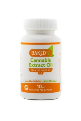 10mg 1:1 THC/CBD Capsules (20 pack) by Baked Edibles