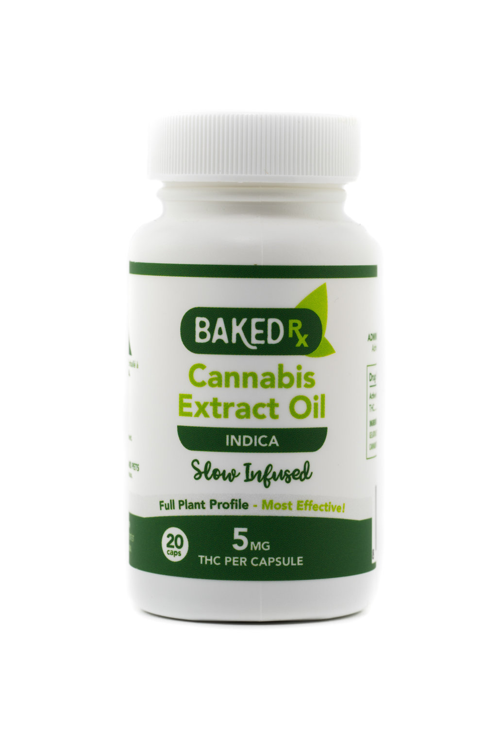 5mg Slow Infused Indica Cannoil Capsules (20 pack) by Baked Edibles 00042