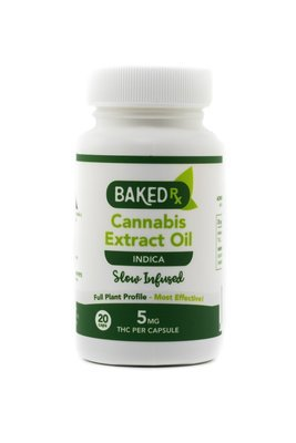 5mg Slow Infused Indica Cannoil Capsules (20 pack) by Baked Edibles