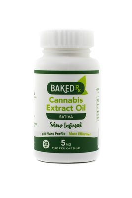 5mg Slow Infused Sativa Cannoil Capsules (20 pack) by Baked Edibles
