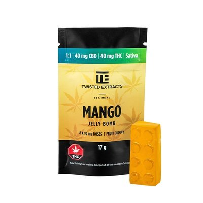 40mg 1:1 THC/CBD Mango Jelly Bomb by Twisted Extracts