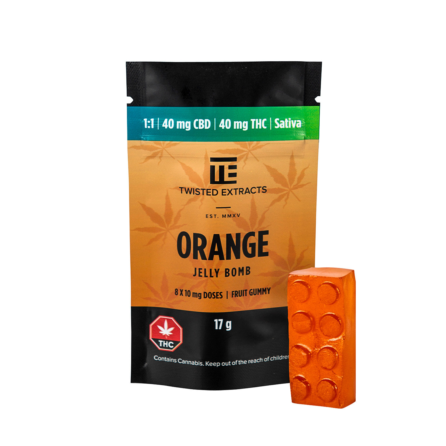 40mg 1:1 THC/CBD Orange Jelly Bomb by Twisted Extracts 00009