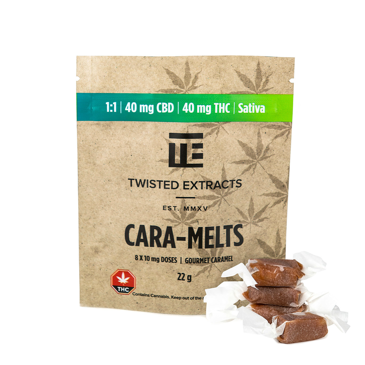 Cara-melts 1:1 (40mgTHC/40mg CBD) by Twisted Extracts 00038
