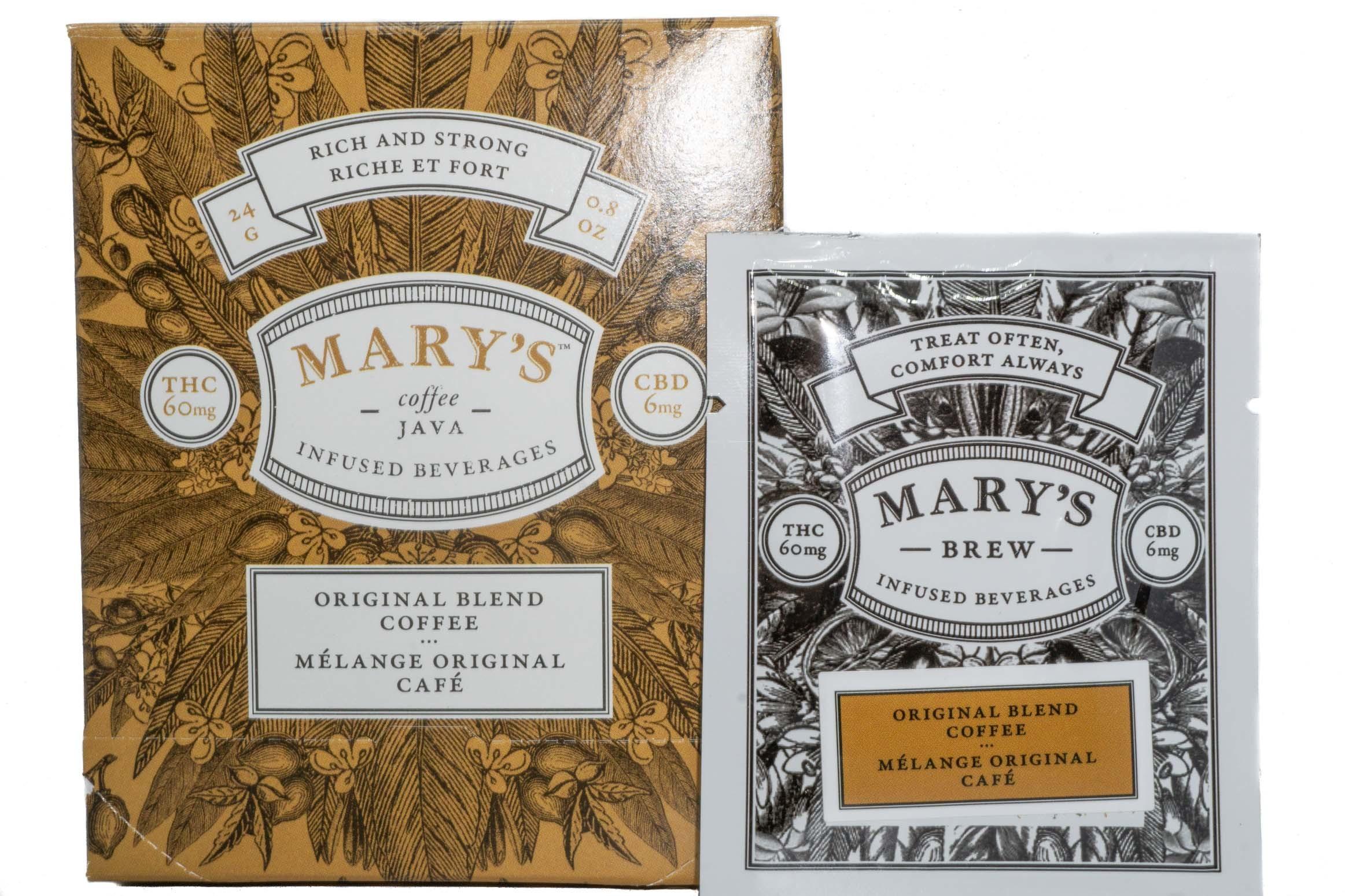 Mary's Wellness Coffee/Java (Original Blend) (Single Sachet) (60mg THC/6mg CBD) 01241