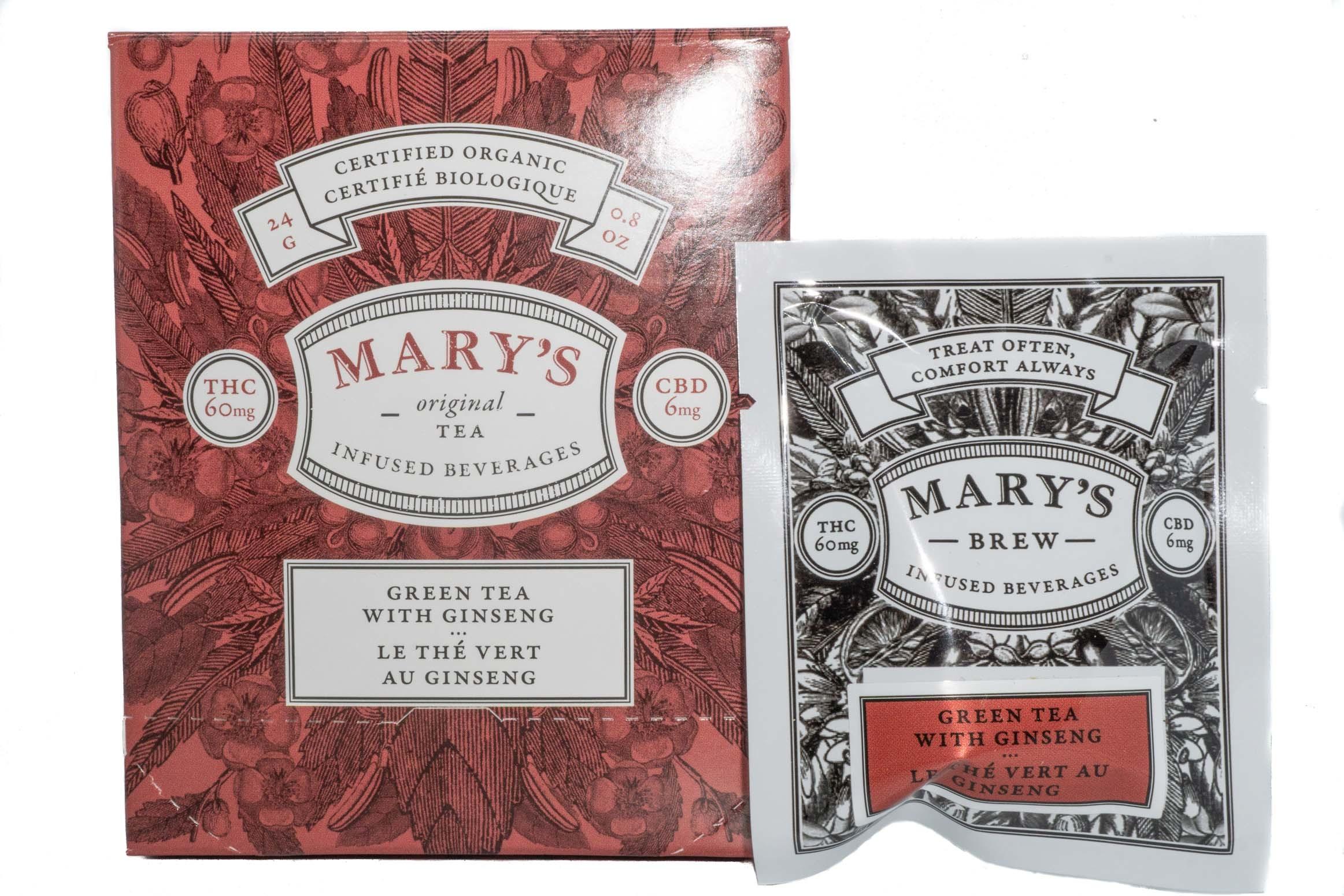 Mary's Wellness Green Tea With Ginseng (Single Sachet) (60mg THC/6mg CBD) 01240