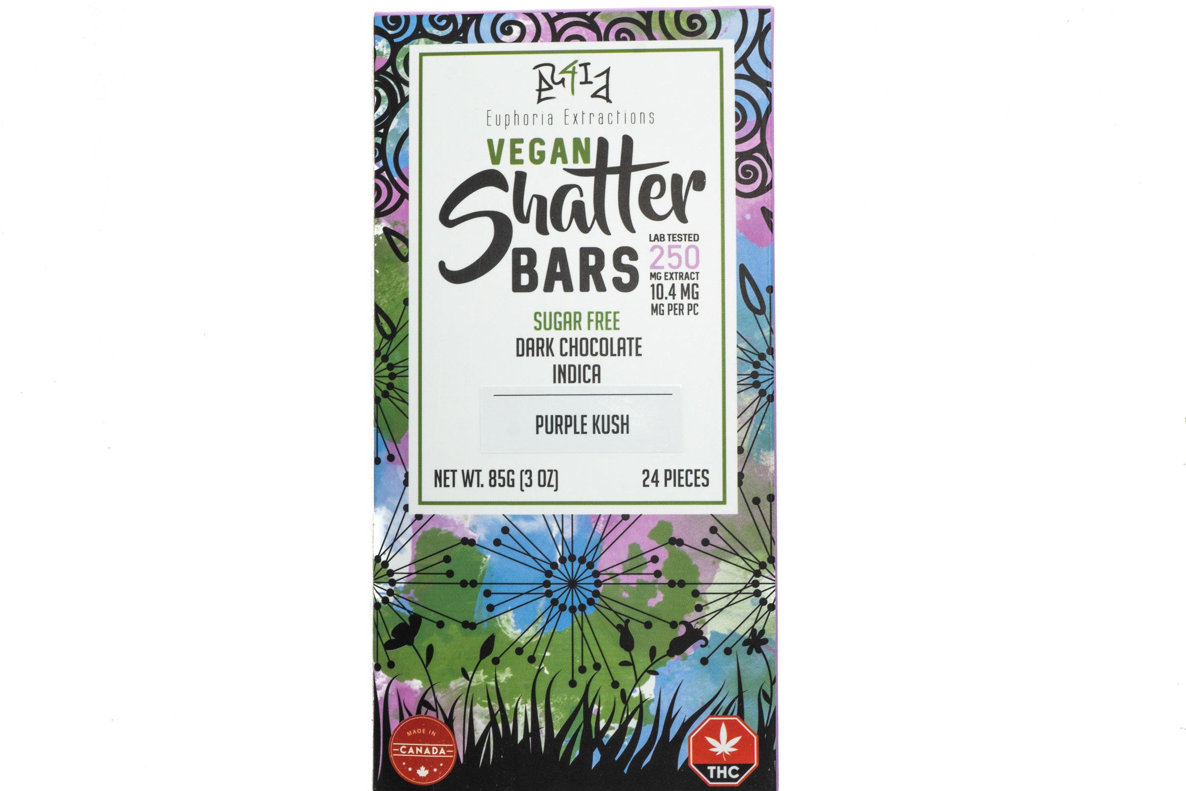 Vegan Dark Chocolate Indica Shatter Bar By Euphoria Extractions (Sugar Free) (250mg) (Current Strain Purple Kush) 01300