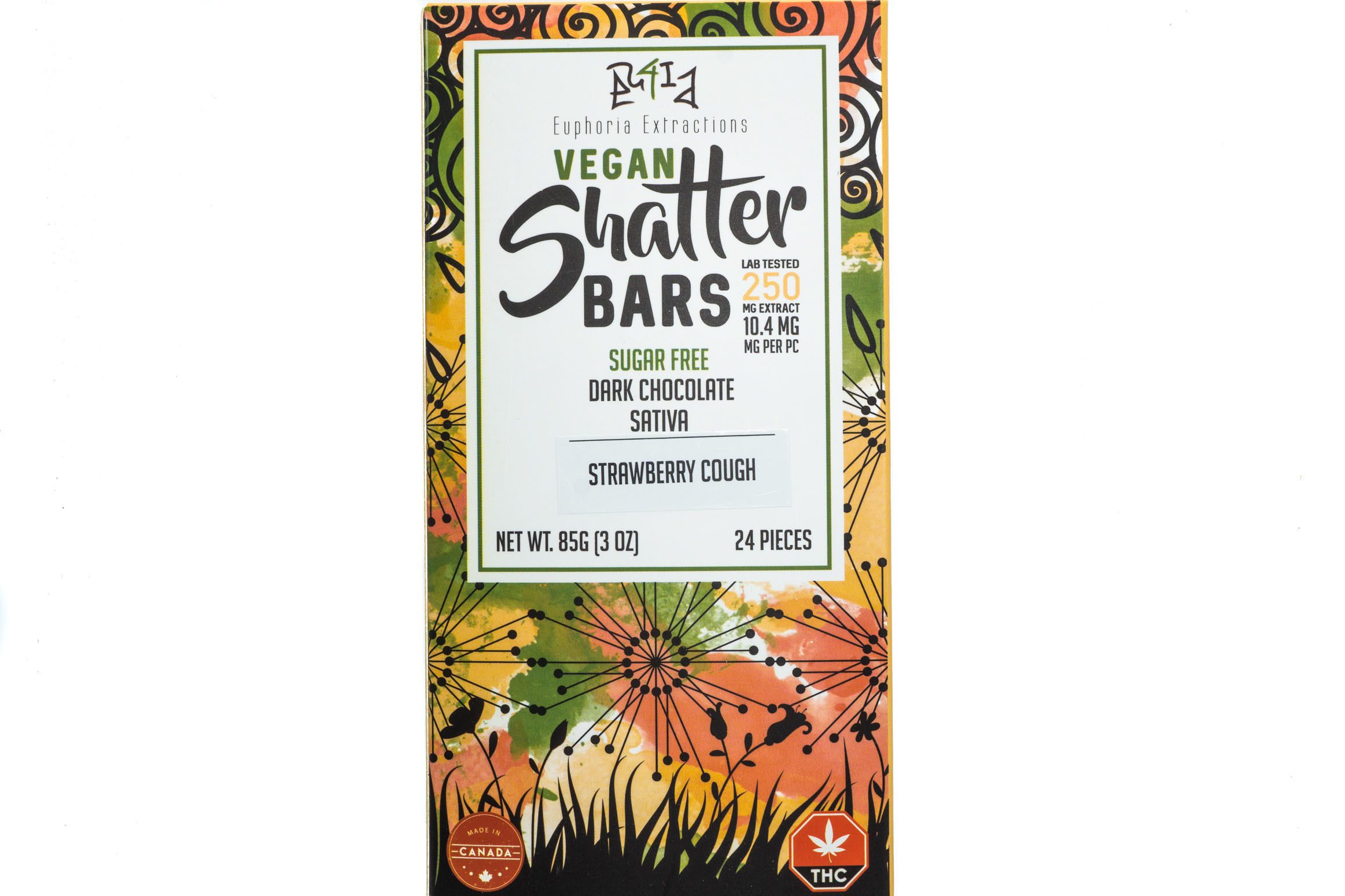 Vegan Dark Chocolate Sativa Shatter Bar By Euphoria Extractions (Sugar Free) (250mg) (Current Strain Strawberry Cough) 01296