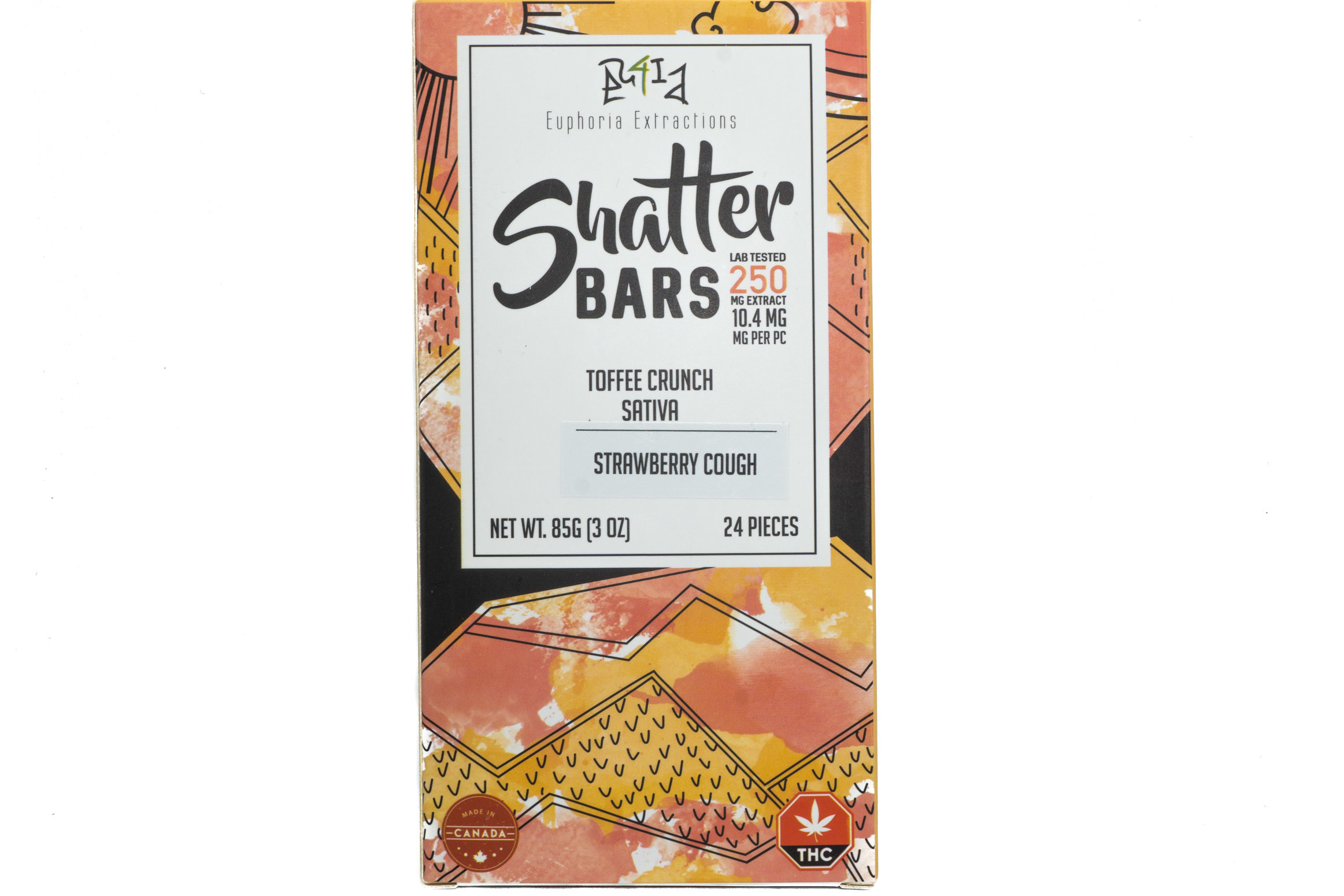 Toffee Crunch Sativa Shatter Bar By Euphoria Extractions (250mg) (Current Strain Strawberry Cough) 01297