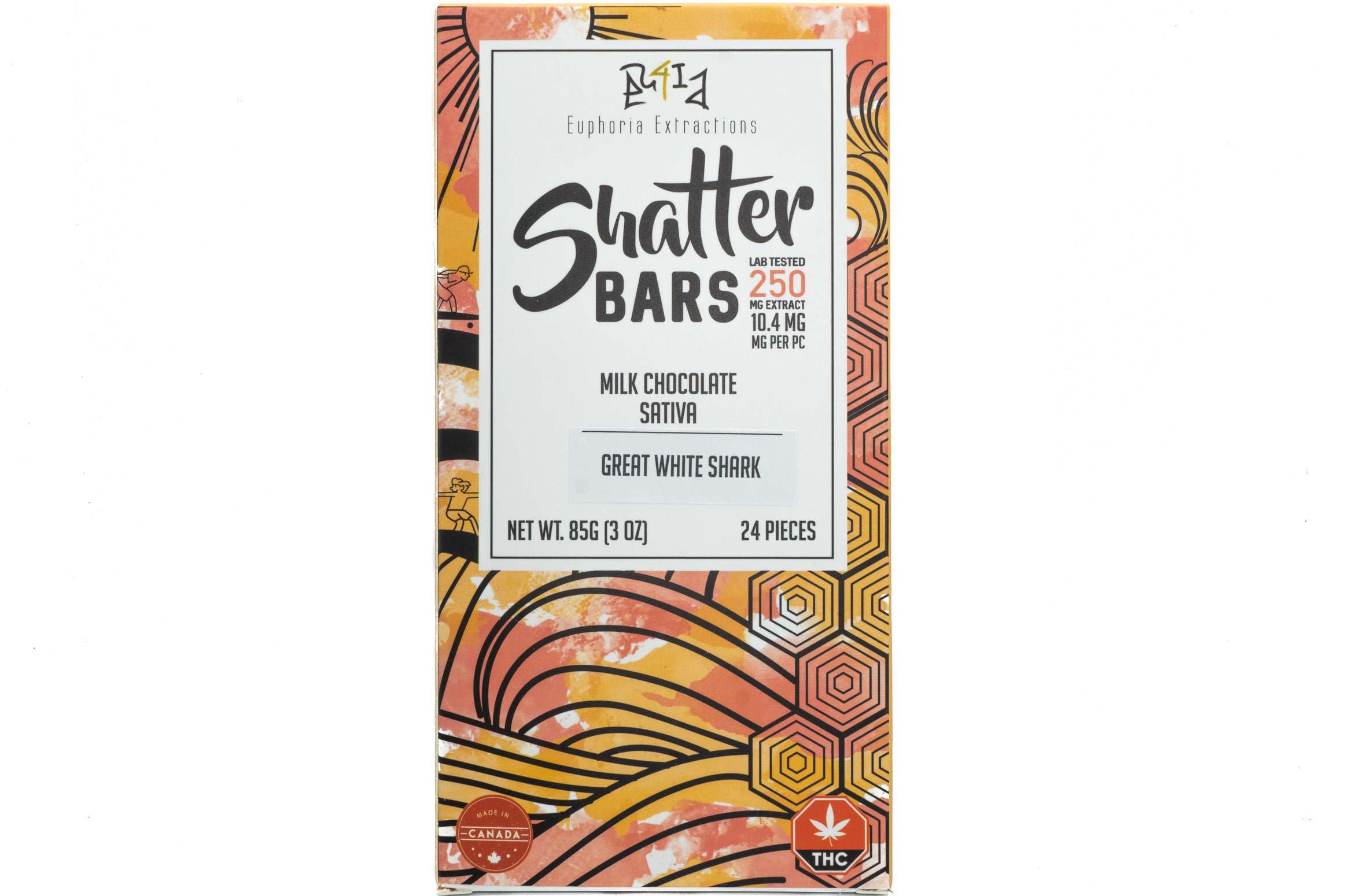 Milk Chocolate Sativa Shatter Bar By Euphoria Extractions (250mg) (Current Strain Great White Shark) 01274