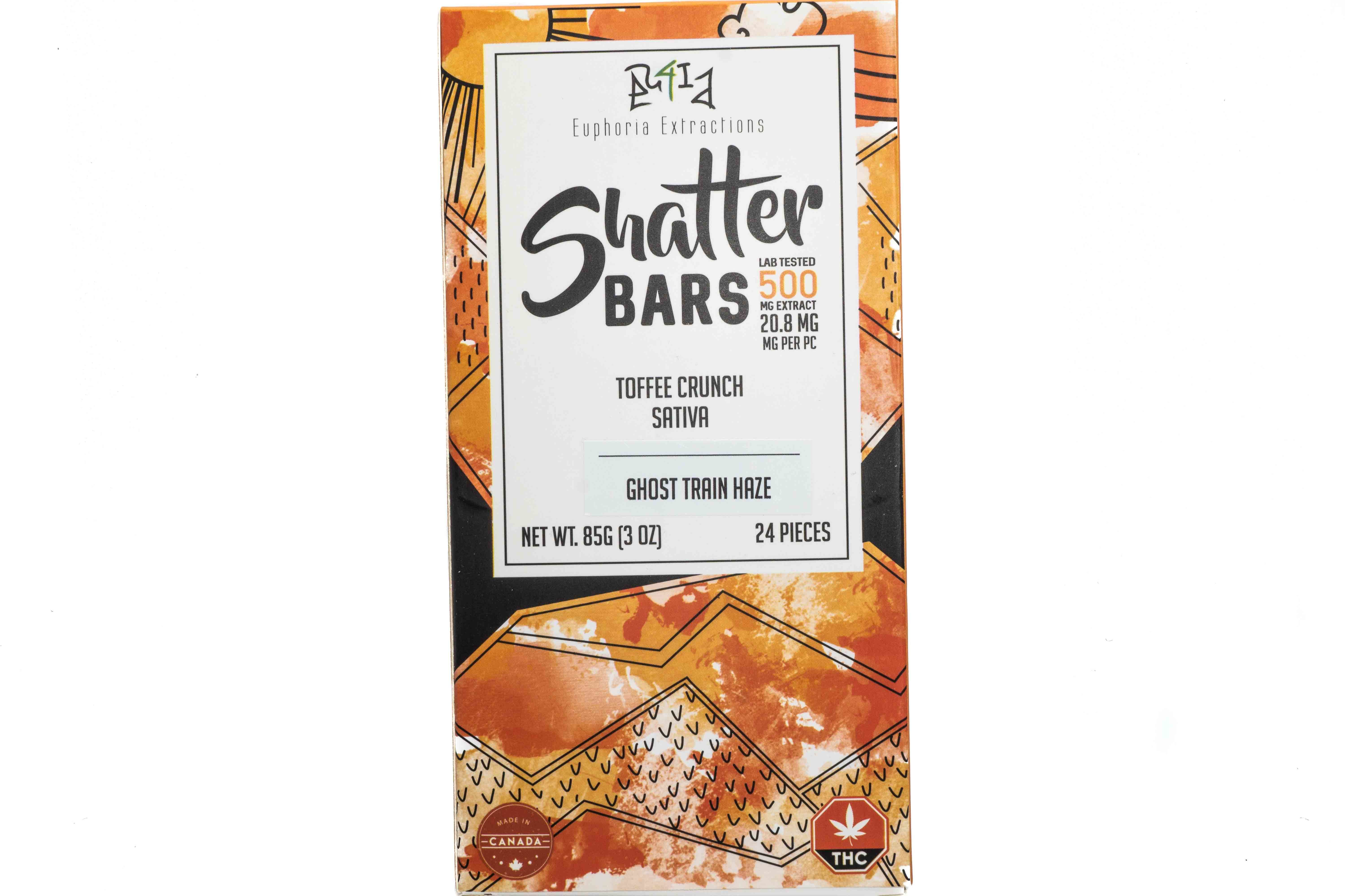 Toffee Crunch Sativa Shatter Bar By Euphoria Extractions (500mg) (Current Strain: Ghost Train Haze) 01309