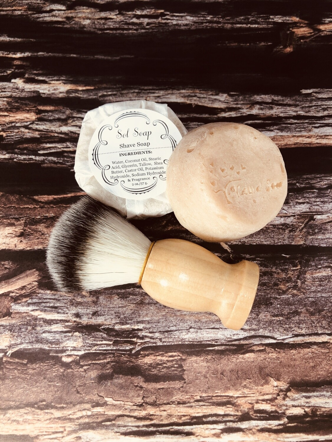 """Shave Soap"" (scented in Rustic Woods and Rum)"