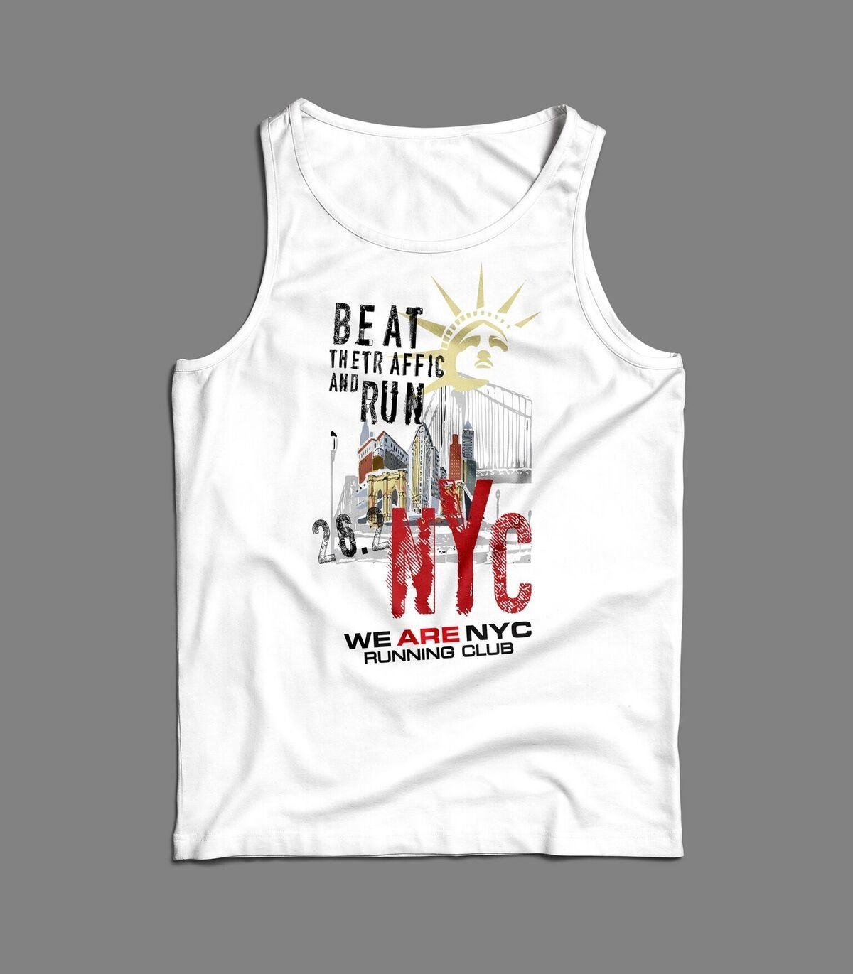 "WE ARE NYC NYC MARATHON ""LADY LIBERY RED NYC"" SINGLET / TANK"