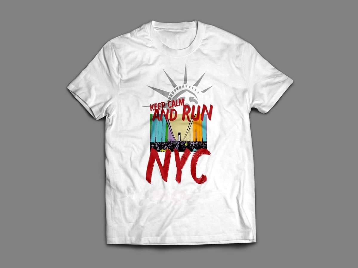 "NYC MARATHON ""KEEP CALM & RUN"" T-SHIRT (SINGLET & LONG SLEEVE AVAILABLE ALSO!)"