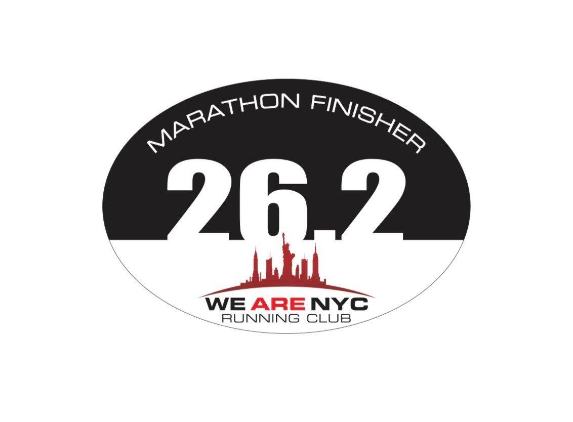 """WE ARE NYC RUNNING CLUB """"26.2 MARATHON FINISHER"""""""