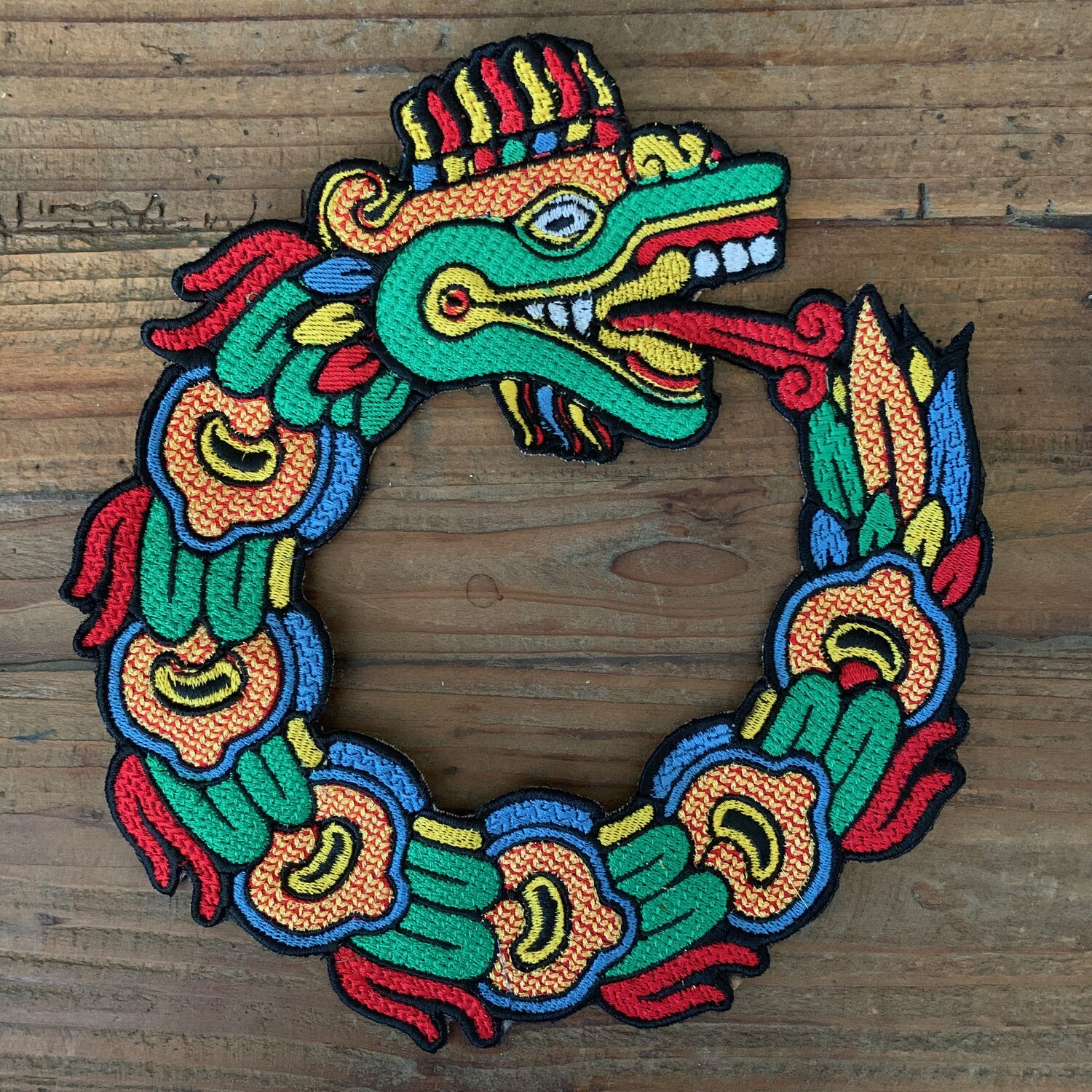 Quetzalcoatl Ouroboros Serpent Large Embroidered Patch