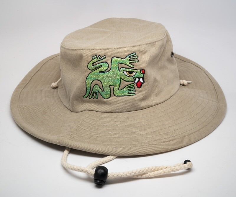 Cuetzpalin - Aztec Lizard - Codex Threads Drawstring Bucket Hat