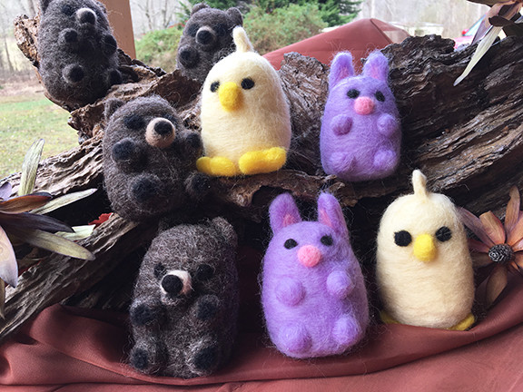 Needle Felting One-day Workshop -  Saturday July 13th  CUDDLY CREATURES!!
