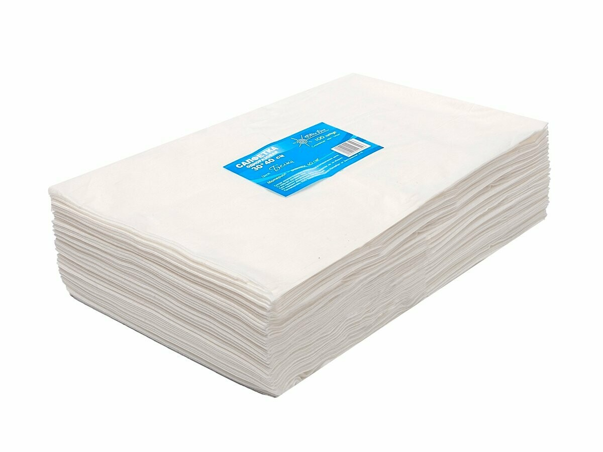 WhiteLine - Салфетка одноразовая 30*40 ГОЛУБАЯ, спанлейс, 100шт