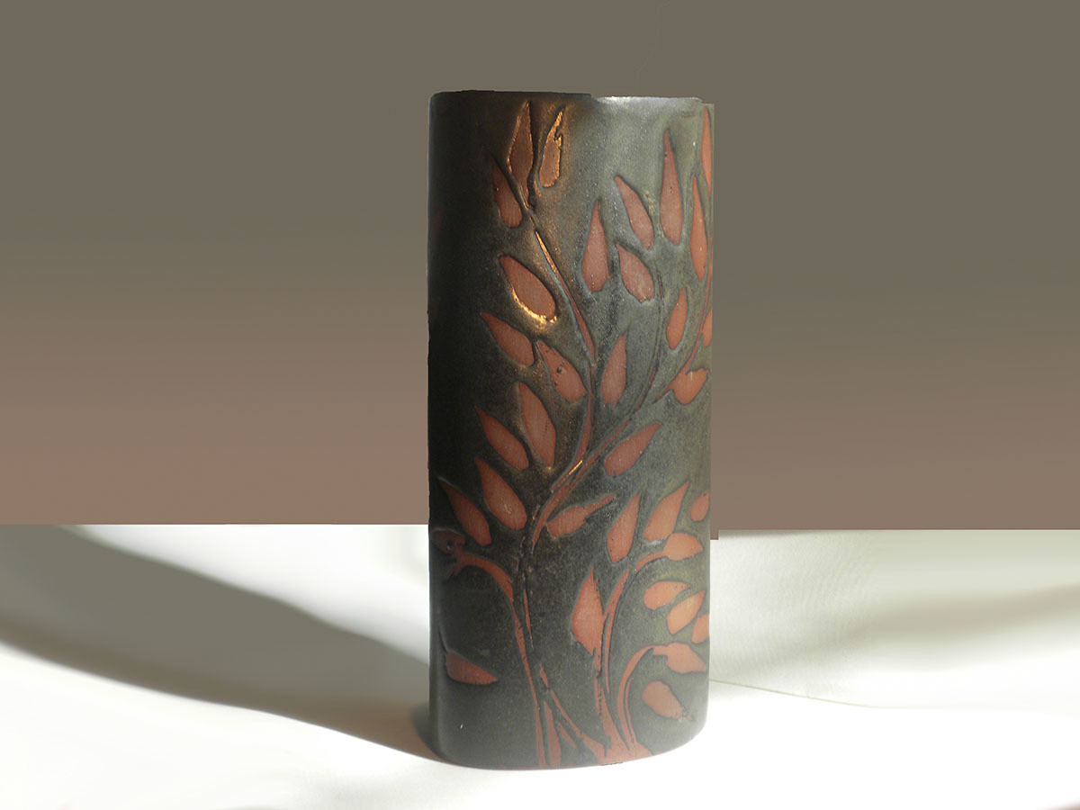 Vintage Andersen Design Vase in Red Leaf on Ebony Glaze Pattern