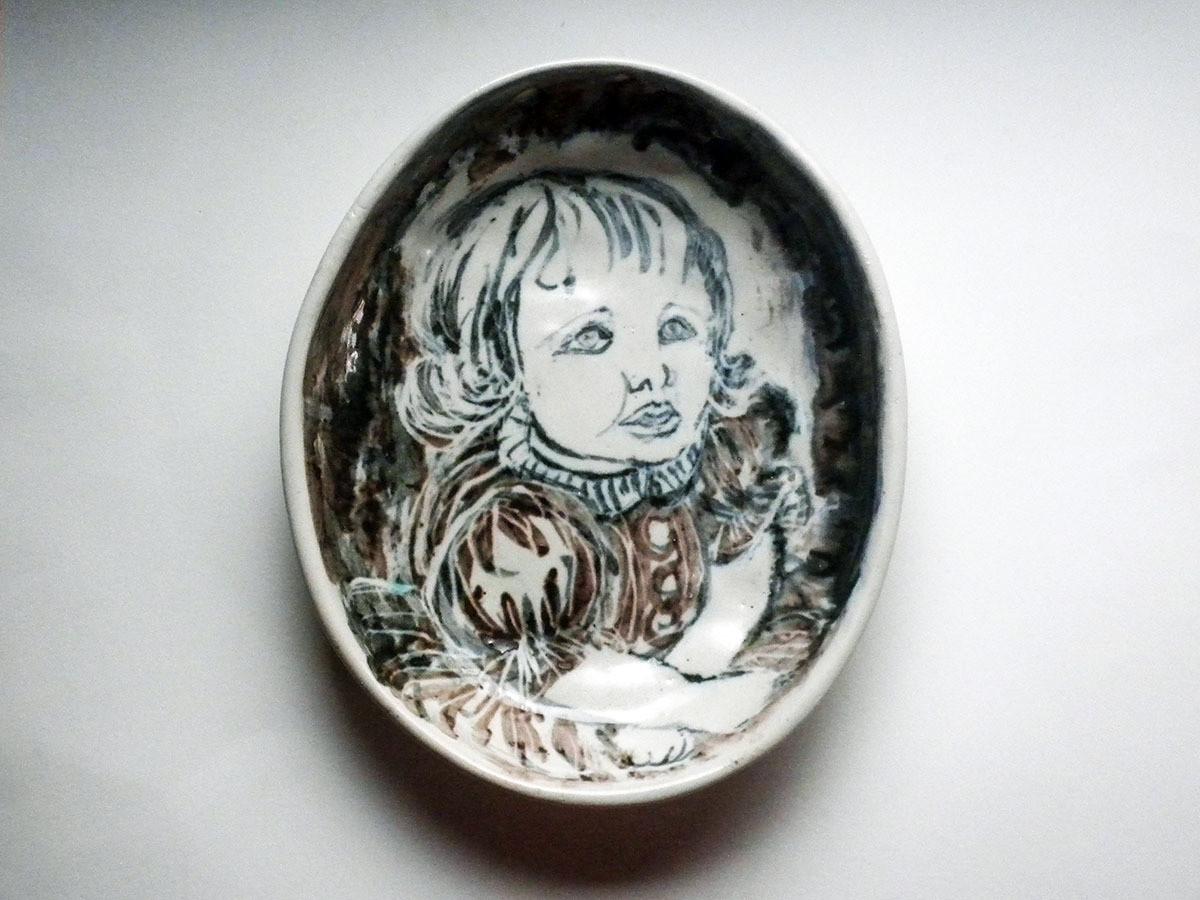 One of a Kind Vintage Portrait of Susan Bowl by Brenda Andersen