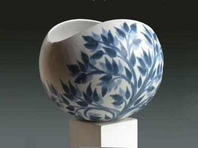 Vintage Working Prototype Large Salad Bowl in Blue Leaf Pattern