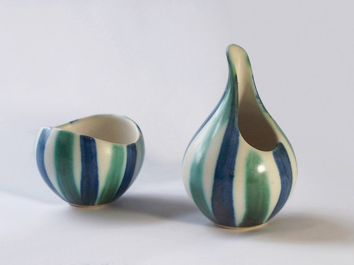 Vintage Creamer and Sugar Bowl Decorated with Blue Green Stripes