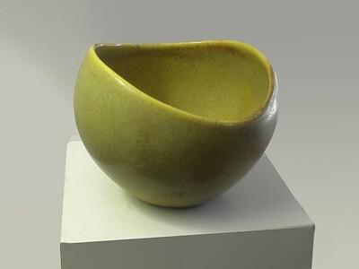 Rare Mustard Yellow Green Vintage Sugar Bowl from Weston's Ohio Years