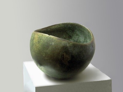 Rare Vintage Sugar Bowl from in Moss green Variegated Glaze, Chipped