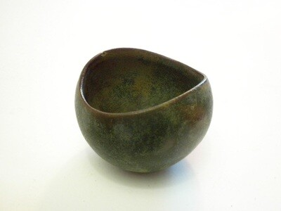 Rare Vintage Sugar Bowl from in Moss green Variegated Glaze, Mint Condition