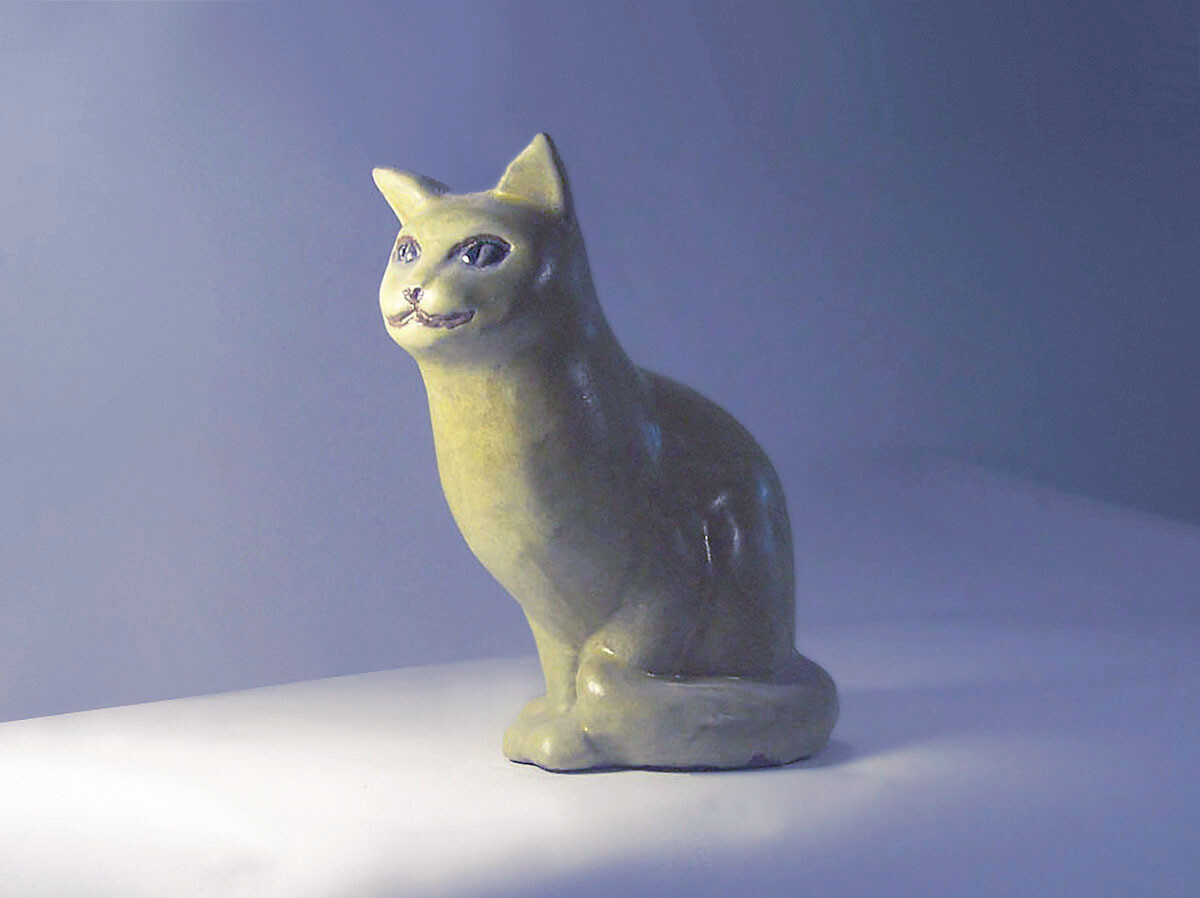 Sitting Cat By Brenda in Rare Yellow Glaze
