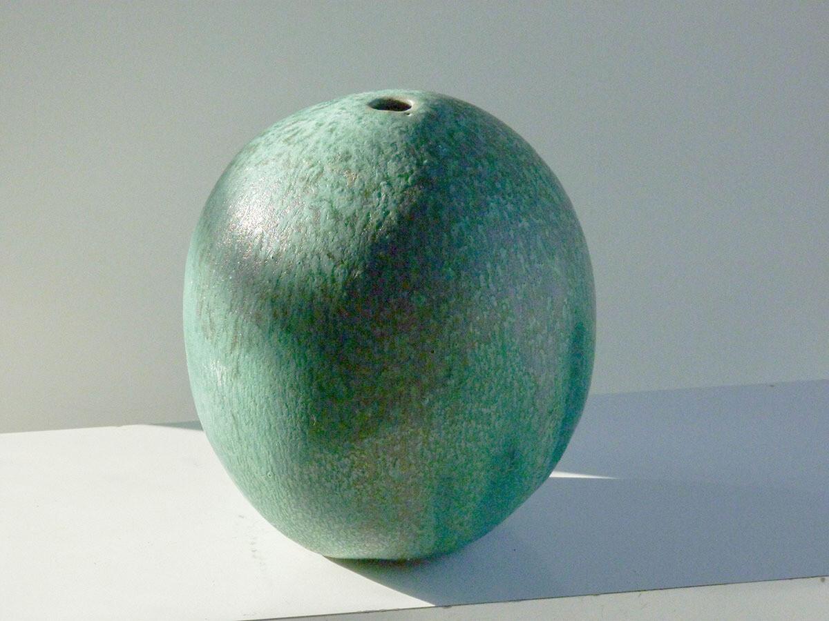 Melon Vase, Small, Variegated Verdigris glaze