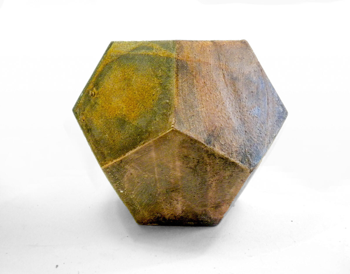 Five Sided Geometric Vase in Yellow Ochre